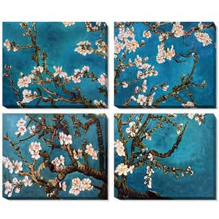 Vincent Van Gogh 'Branches of an Almond Tree in Blossom' (Grouping) Hand Painted Framed Canvas Art