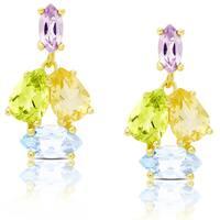 Dolce Giavonna Gold Over Sterling Silver Multi Gemstone Dangle Earrings