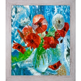 Celito Medeiros 'Still Life with Poppies' Hand Painted Framed Canvas Art
