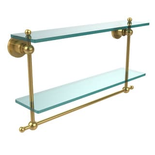 Allied Brass Astor Place Collection Glass and Brass 22-inch Two-tiered Shelf with Integrated Towel Bar