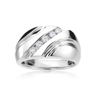 SummerRose Men's 14k White Gold Diamond Ring