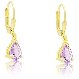 Dolce Giavonna Gold Over Sterling Silver Amethyst Teardrop Leverback Earrings