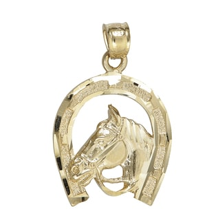 14k Yellow Gold Horse and Horseshoe Dangling Pendant