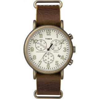 Timex TW2P853009J Weekender Chrono Brown/Off-white Leather/Mineral/Stainless Steel Oversized Slip-Thru Men's Strap Watch