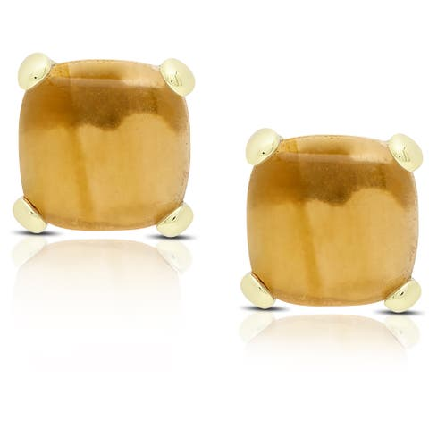 Dolce Giavonna Gold Over Sterling Silver Cushion-cut Reconstructed Citrine Stud Earrings
