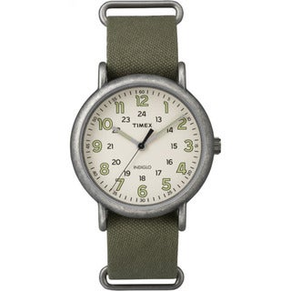 Timex TW2P859009J Weekender Olive Green/Off-white Fabric/Brass/Mineral/Stainless Steel Oversized Slip-thru Men's Strap Watch
