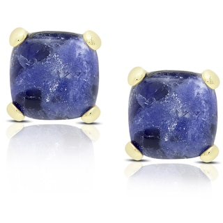 Dolce Giavonna Gold Over Sterling Silver Cushion-cut Sodalite Stud Earrings