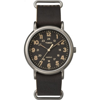 Timex Men's TW2P858009J Weekender Dark Brown Oversized Leather Slip-thru Strap Watch