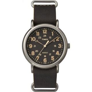 Timex Men's TW2P858009J Weekender Dark Brown Oversized Leather Slip-thru Strap Watch
