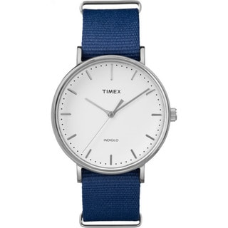 Timex Unisex Fairfield Collection Stainless Steel Watch with Blue Nylon Strap