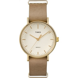 Timex Unisex TW2P984009J Fairfield 37 Watch with Taupe Leather Slip-thru Strap