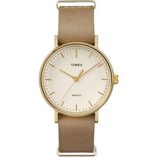 Timex Unisex TW2P984009J Weekender Fairfield 37 Taupe Leather Slip-thru Strap Watch