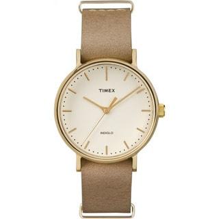 Timex Unisex TW2P984009J Fairfield 37 Watch with Taupe Leather Slip-thru Strap