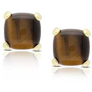 Dolce Giavonna Gold Over Sterling Silver Cushion-cut Tiger's Eye Stud Earrings