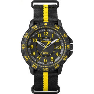 Timex Men's TW4B053009J Expedition Gallatin Black/Yellow Stripe Slip-thru Strap Nylon Watch
