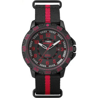Timex TW4B055009J Expedition Gallatin Black and Red Nylon Slip-thru Men's Strap Watch