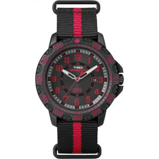Timex Expedition Gallatin Black and Red Nylon Slip-thru Men's Strap Watch