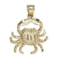 14k Gold Dangling Crab Pendant