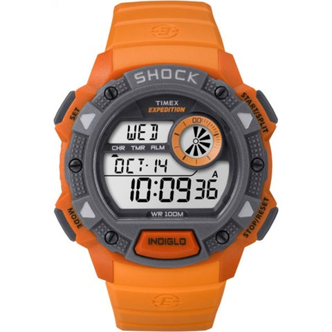 Timex Men's Expedition Base Shock Orange/Grey Resin/Acrylic/Stainless Steel Watch - ORANGE