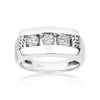 SummerRose Men's 14k White Gold 1ct Diamond Ring