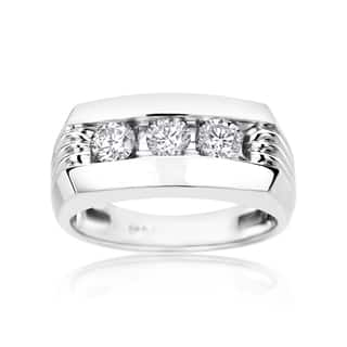 SummerRose Men's 14k White Gold 1ct Diamond Ring|https://ak1.ostkcdn.com/images/products/11991539/P18871522.jpg?impolicy=medium