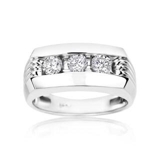 SummerRose Men's 14k White Gold 1ct Diamond Ring