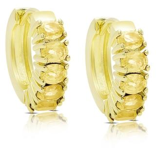Dolce Giavonna Gold Over Sterling Silver Citrine Saddleback Hoop Earrings