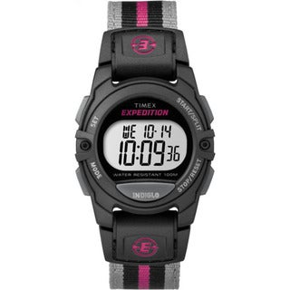 Timex Unisex Grey Nylon Digital Strap Watch - Black