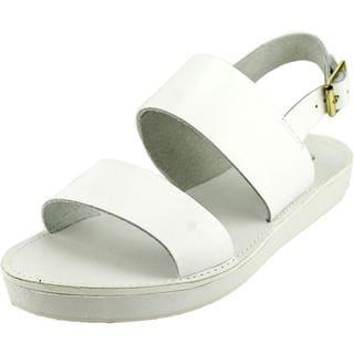 Steve Madden Women's Orka White Leather Sandals