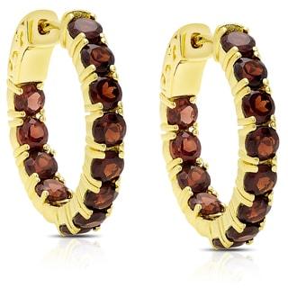 Dolce Giavonna Gold Over Sterling Silver Garnet Hoop Earrings