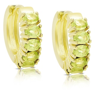 Dolce Giavonna Gold Over Sterling Silver Peridot Hoop Earrings