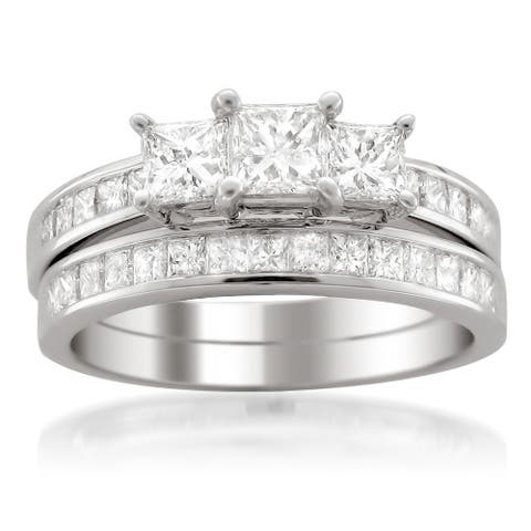 Montebello Jewelry 14k White Gold 2ct TDW Certified Princess-cut Diamond Engagement and Wedding Ring Bridal Set (H-I, I1-I2)