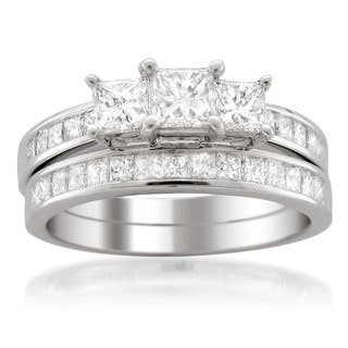 Montebello Jewelry 14k White Gold 2ct TDW Certified Princess-cut Diamond Engagement and Wedding Ring|https://ak1.ostkcdn.com/images/products/11991567/P18871543.jpg?impolicy=medium