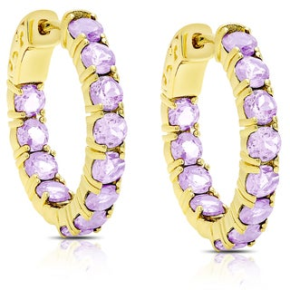 Dolce Giavonna Gold Over Sterling Silver Amethyst Hoop Earrings