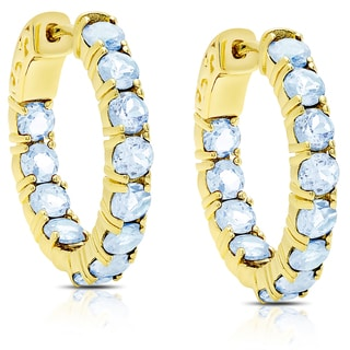 Dolce Giavonna Gold Over Sterling Silver Blue Topaz Hoop Earrings