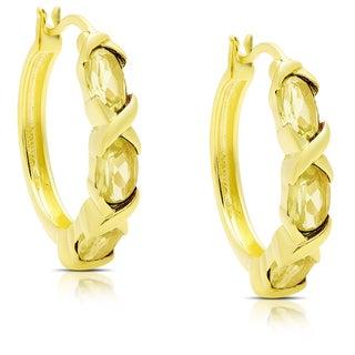Dolce Giavonna Gold Over Sterling Silver Citrine XO Hoop Earrings