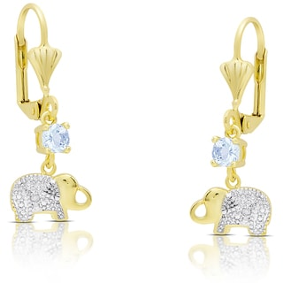 Dolce Giavonna Gold Over Sterling Silver Blue Topaz and Diamond Accent Elephant Dangle Earrings