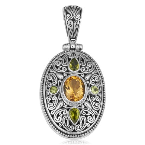 Handmade Silver Citrine and Peridot Gemstone Pendant (Indonesia)
