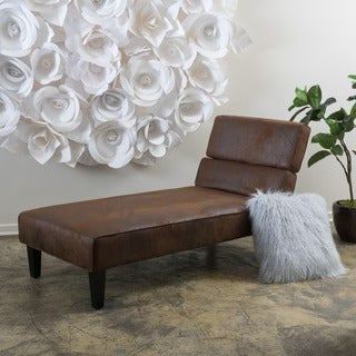 Astrid Microfiber Chaise Lounge by Christopher Knight Home