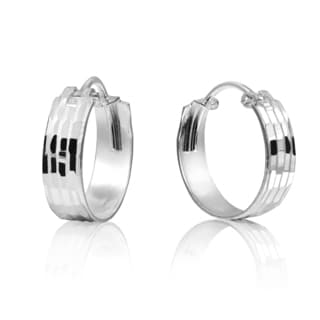 Modern Textured 4mm Sterling Silver .925 Hoop Earrings (Thailand)