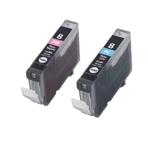 2PK Compatible CLI-8PM CLI-8PC Ink Cartridge For Canon PIXMA IP 5200R 6600D 6700D MP950 Pro 9000 ( Pack of 2 )