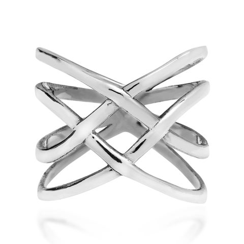 Handmade Exotic Puzzle Weave Quad Band Sterling Silver Ring (Thailand)