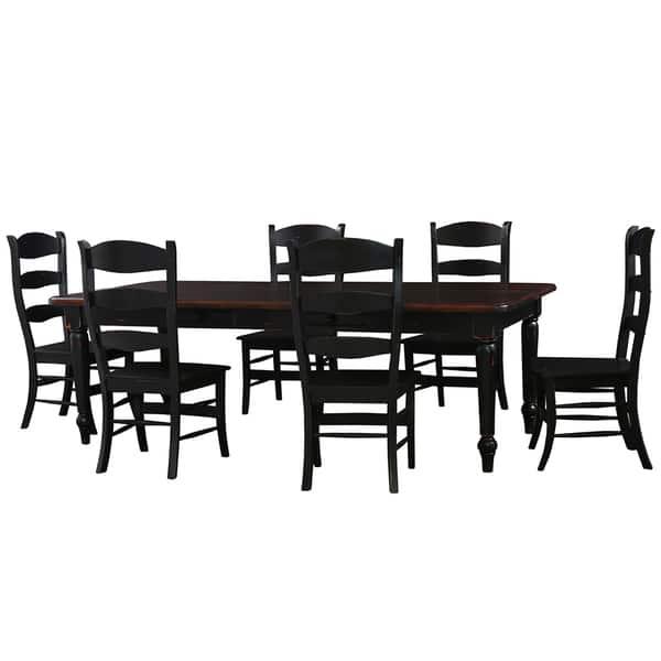 Bramble Co Farmhouse 8 Ft Vintage Black Dining Table