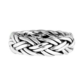 Handmade Delicate Woven Braid 7mm Band Sterling Silver Ring (Thailand)