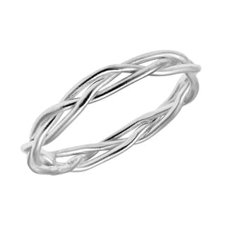 Handmade Crown of Thorn Weave Wire Braid Sterling Silver Band Ring (Thailand)