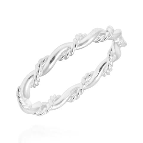 Handmade Intricate Braid Stackable Band Sterling Silver Ring (Thailand)