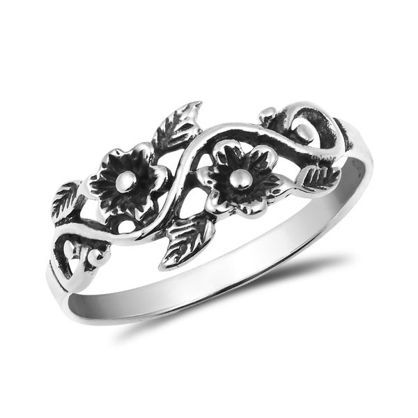 Sterling silver band rings - Floral Sterling Silver Band Ring from Thailand