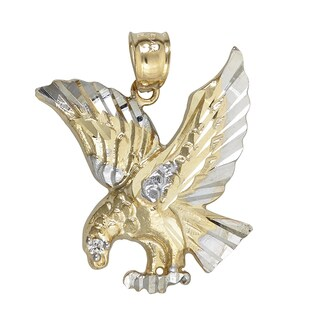 14k Yellow/White Gold Cubic Zirconia Eagle in Flight Dangling Pendant