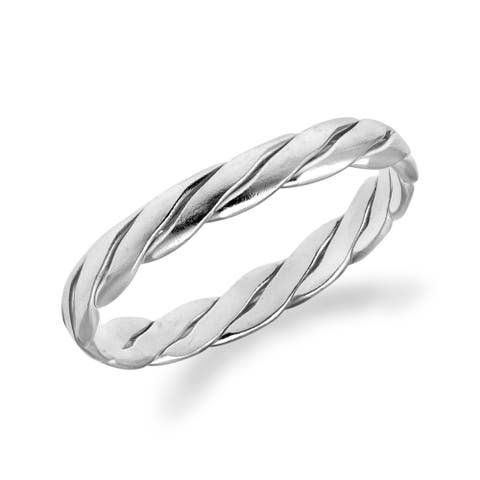 Handmade Tropical Twice Twisted 3mm Band Sterling Silver Ring (Thailand)