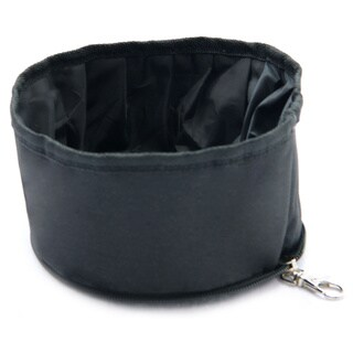 Purrrfect Life Black Polyester Collapsible Waterproof Travel Pet Bowl
